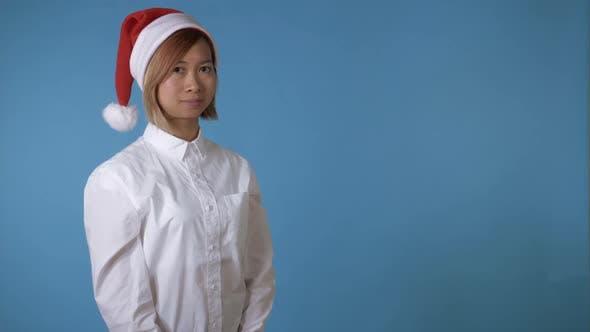 Thumbnail for Beautiful Girl Like Santa Greeting Say Hello