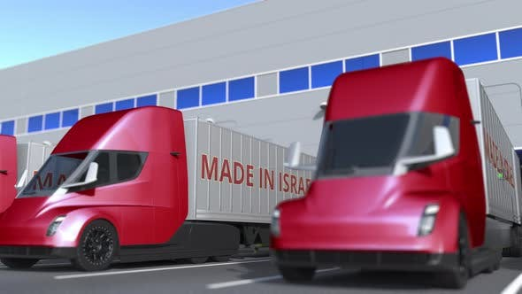 Thumbnail for Modern Semitrailer Trucks with MADE IN ISRAEL Text