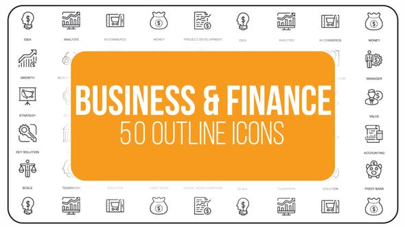 Thumbnail for Business And Finance - 50 Thin Line Icons