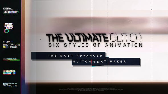 Thumbnail for 70 Glitch Title Animation Presets Pack | Glitch Text Maker