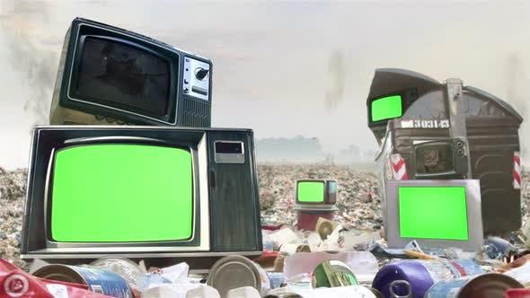Retro TVs with Green Screens on Garbage. 4K Version.