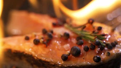 Grilled Salmon on the Flaming Grill