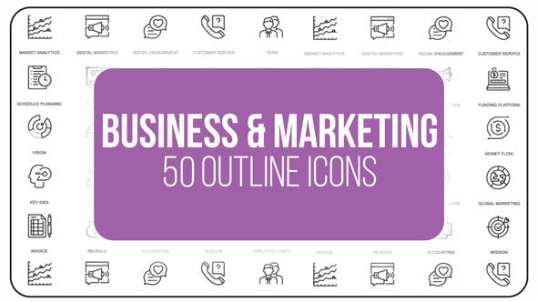 Thumbnail for Marketing and Business - 50 Thin Line Icons