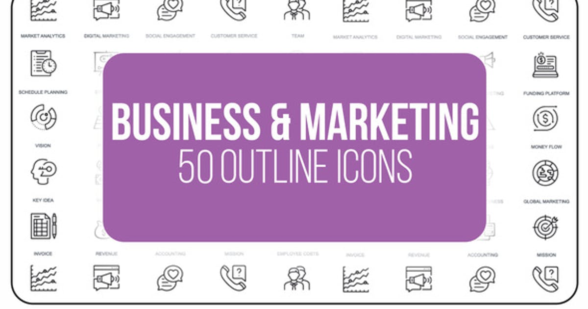 Download Marketing and Business - 50 Thin Line Icons by IconsX