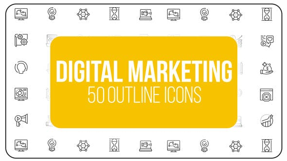 Thumbnail for Digital Marketing and Ecommerce - 50 Thin Line Icons