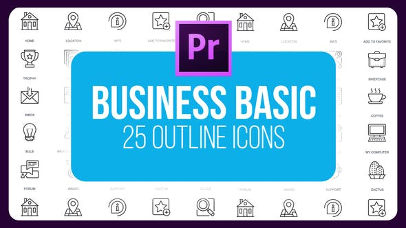 Thumbnail for Business Basic - Outline Animated Icons (MOGRT)