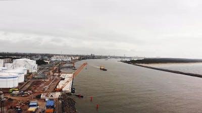 Aerial View Klaipeda Port With Cargo Ship, Lithuania