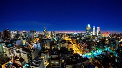 Night view over the skyline of Buenos Aires