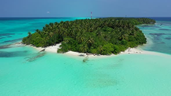Thumbnail for Wide angle overhead copy space shot of a white paradise beach and turquoise sea background in colour