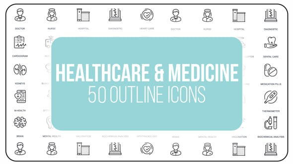 Thumbnail for Healthcare And Medicine - 50 Thin Line Icons