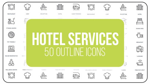 Thumbnail for Hotel Services - 50 Thin Line Icons