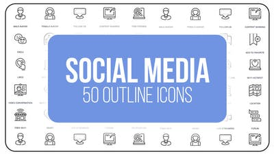 Social Media and Network - 50 Thin Line Icons