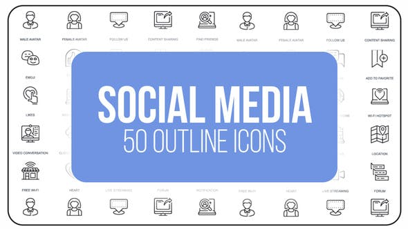 Thumbnail for Social Media - 50 Thin Line Icons