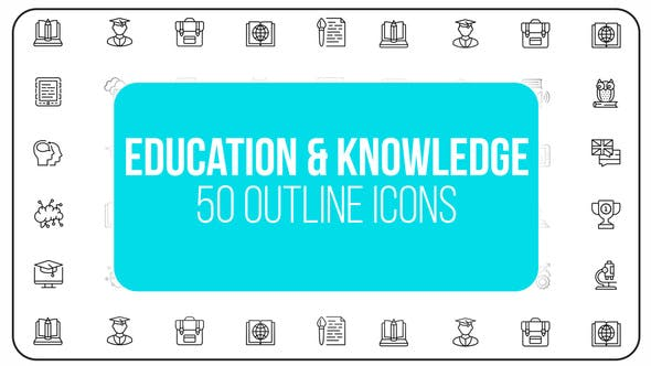 Online Education and Knowledge - 50 Thin Line Icons