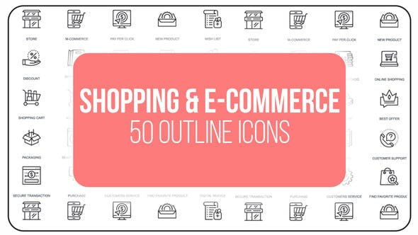 Thumbnail for Shopping And Ecommerce - 50 Thin Line Icons