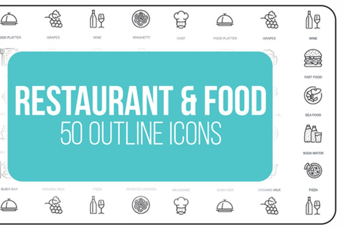 Restaurant and Sport - 50 Thin Line Icons by IconsX on Envato Elements
