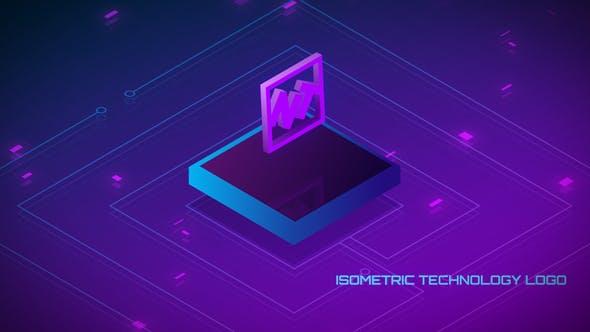 Looped Isometric Technology Logo