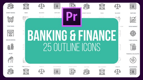 Thumbnail for Banking And Finance - Thin Line Icons (MOGRT)
