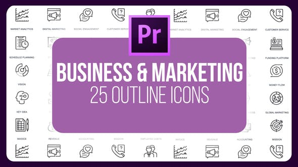 Thumbnail for Business And Marketing - Thin Line Icons (MOGRT)