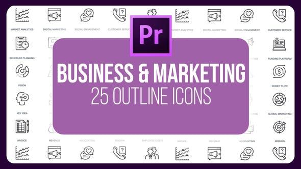 Thumbnail for Business et Marketing - Icones de ligne mince (MOGRT)