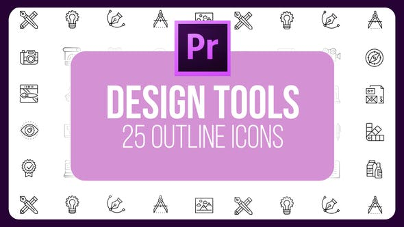 Thumbnail for Design Tools - Thin Line Icons (MOGRT)