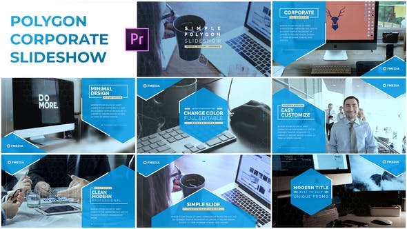 Thumbnail for Simple Polygon Corporate Slideshow - Premiere Pro