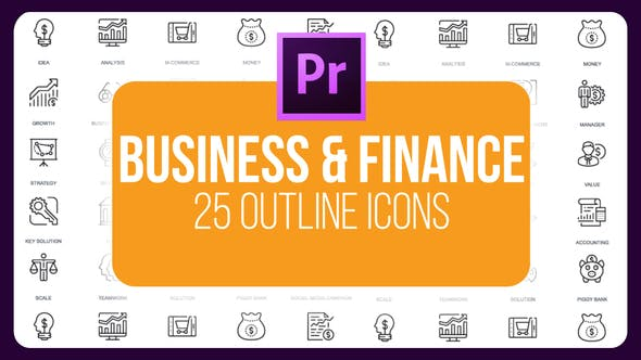 Thumbnail for Business And Finance - Thin Line Icons (MOGRT)