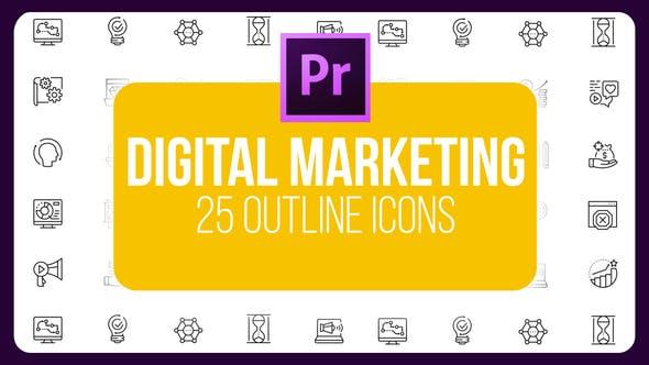 Thumbnail for Marketing numérique - Icones minces (MOGRT)