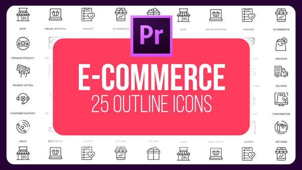 Thumbnail for E-Commerce - Thin Line Icons (MOGRT)