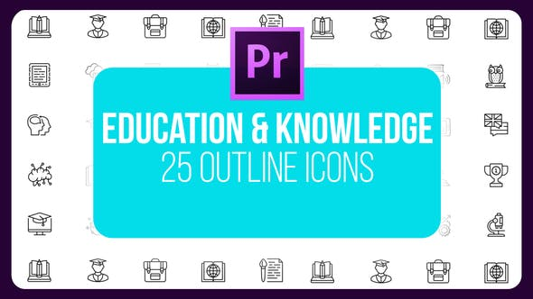 Thumbnail for Education and Knowledge - Thin Line Icons (MOGRT)