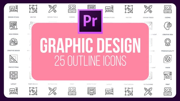 Thumbnail for Graphics Designer - Thin Line Icons (MOGRT)