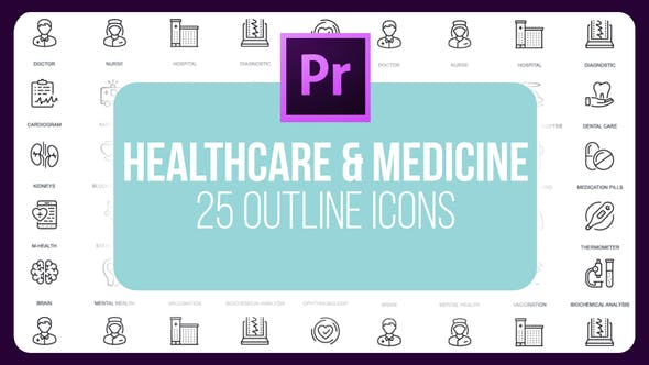 Thumbnail for Healthcare And Medicine - Thin Line Icons (MOGRT)