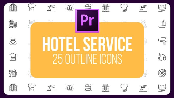 Thumbnail for Hotel Service - Thin Line Icons (MOGRT)