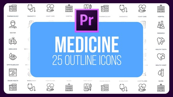 Thumbnail for Medicine - Thin Line Icons (MOGRT)