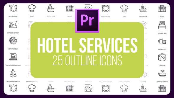 Thumbnail for Hotel Services - Thin Line Icons (MOGRT)