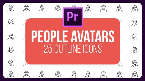 Thumbnail for People Avatar - Thin Line Icons (MOGRT)