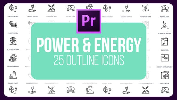 Thumbnail for Power Energy 1 - Thin Line Icons (MOGRT)