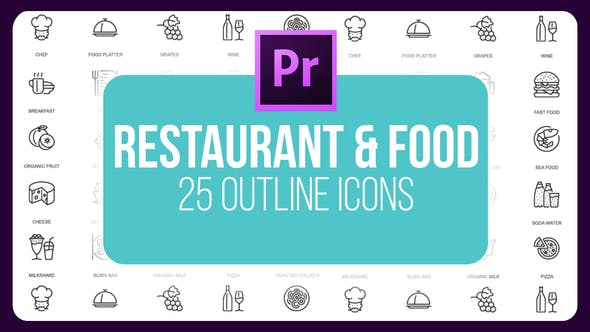 Thumbnail for Restaurante Y Comida - Thin Line Íconos (MOGRT)