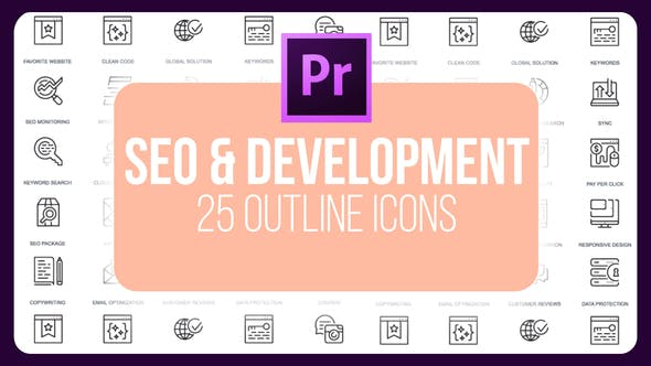Thumbnail for SEO Development - Thin Line Icons (MOGRT)