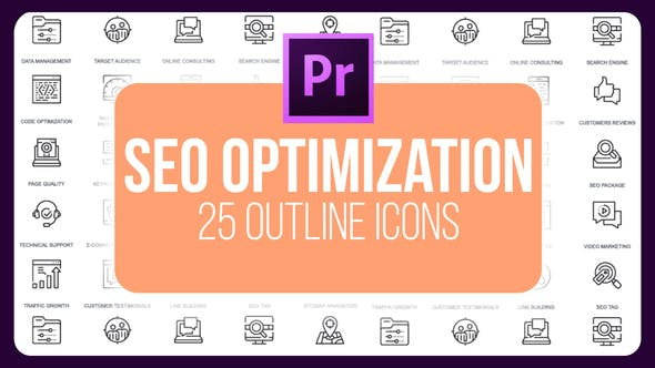 Thumbnail for SEO Optimization - Thin Line Icons (MOGRT)