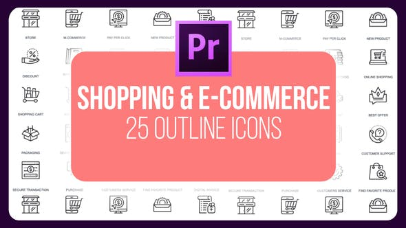 Thumbnail for Shopping And E-Commerce - Thin Line Icons (MOGRT)