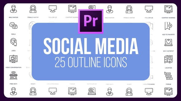 Thumbnail for Social Media - Thin Line Icons (MOGRT)