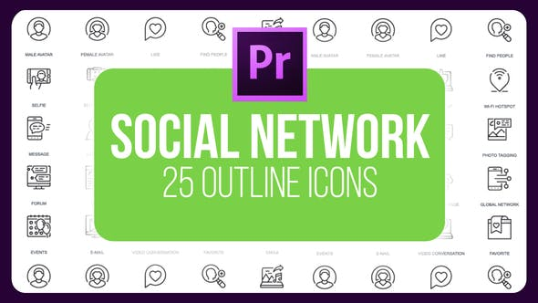 Thumbnail for Social Network - Thin Line Icons (MOGRT)