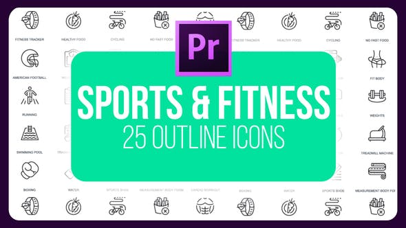 Thumbnail for Sport And Fitness - Thin Line Icons (MOGRT)