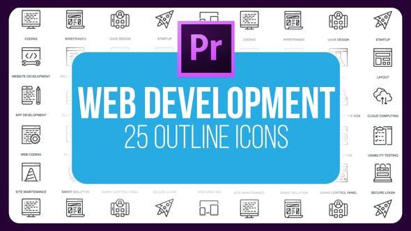Thumbnail for Web Development - Thin Line Icons (MOGRT)
