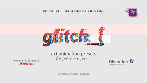 Cover Image for Project-x Glitch 30 Text Presets For Premiere Pro | Mogrt