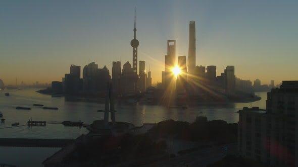 Thumbnail for Shanghai City at Sunrise. Aerial View
