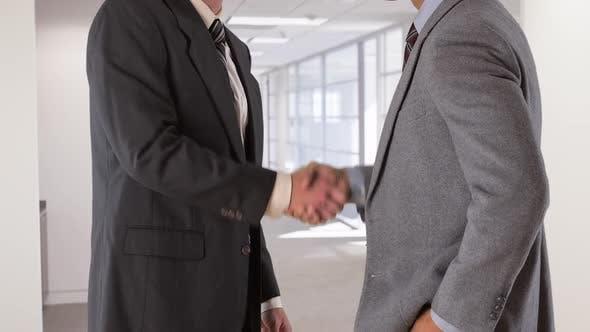 Thumbnail for two businessmen shake hands