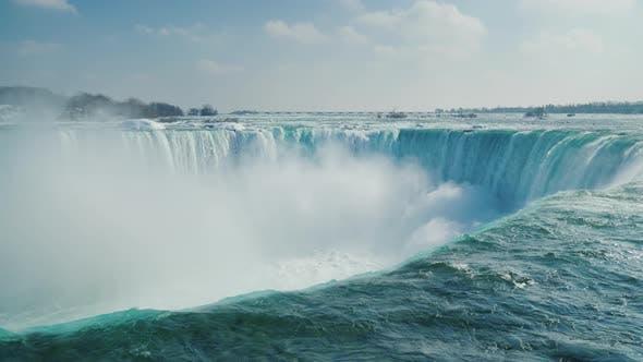 Thumbnail for Horseshoe Shaped Waterfall in the Niagara Falls Series. Winter Season