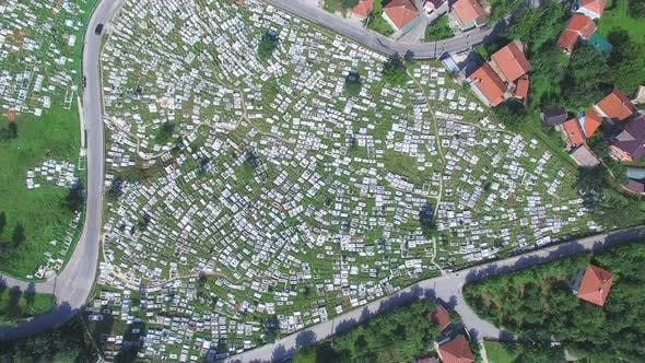 Thumbnail for Aerial view of Bosnian graveyard